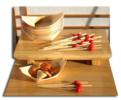 Bamboo Canapé Boats & Cocktail Red Bead skewers each x100 Japanese style